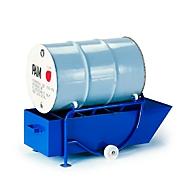 Vatenkantelaar 200 l, met 2 staanders en opvangbak voor olie, vathouder: 4 polyamide wielen
