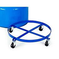 Vatenroller voor rechtstaand transport van stalen vaten van 200 liter