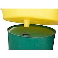 Vatentrechter BT75, 50 l volume opvangbak, voor 200 l vaten, Ø 870 mm, PE, geel