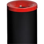Veiligheidsafvalbak Grisu Color, 50L, zwart/rood, 50L, zwart / rood
