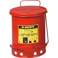 Veiligheidscontainer, zelfsluitend deksel, onderzijde met openingen, met voetpedaal, plaatstaal, Ø 290 x H 400 mm, 23 l, rood