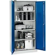 Veiligheidskast conform IP 54, 4 legborden, B 950 x D 525 x H 1935 mm, aluminium zilver/gentiaanblauw