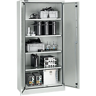 Veiligheidskast conform IP 54, 4 legborden, B 950 x D 525 x H 1935 mm, aluminium zilver