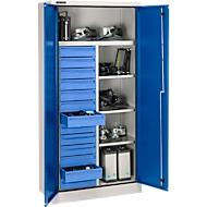 Veiligheidskast conform IP 54 met 13 schuifladen, B 950 x D 525 x H 1936 mm, aluminium zilver/gentiaanblauw