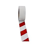 Veiligheidsmarkeringsfolie, lw, rood/wit, 50 mm x 25 m