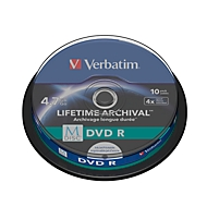 Verbatim DVD-Rohlinge M-Disc DVD, bedruckbar, 4,7 GB, Spindel, 10 Stück