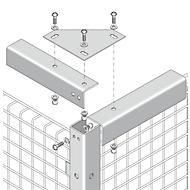 Verbindingshoek, voor gaas-scheidingswandsystemen, ter stabilisering, lichtzilver
