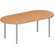 Vergadertafel MODENA FLEX, in hoogte verstelbaar, ovale vorm, 4-poot ronde buis, 2000 x 1000 mm, beukenpatroon