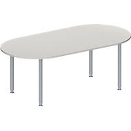 Vergadertafel MODENA FLEX, in hoogte verstelbaar, ovale vorm, 4-poot ronde buis, 2000 x 1000 mm, lichtgrijs