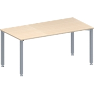Vergadertafel MODENA FLEX, in hoogte verstelbaar, rechthoekige vorm, 4-poot vierkante buis, B 1600 x D 800 mm, zonder contactdoos, esdoornpatroon