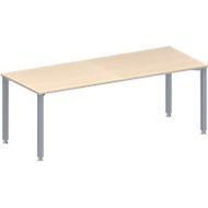 Vergadertafel MODENA FLEX, in hoogte verstelbaar, rechthoekige vorm, 4-poot vierkante buis, B 2000 x D 800 mm, esdoornpatroon