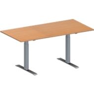 Vergadertafel MODENA FLEX, in hoogte verstelbaar, rechthoekige vorm, T-poot rechthoekige buis, B 1600 x D 800 mm, beukenpatroon