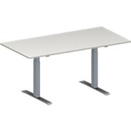 Vergadertafel MODENA FLEX, in hoogte verstelbaar, rechthoekige vorm, T-poot rechthoekige buis, B 1600 x D 800 mm, lichtgrijs