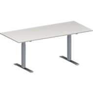 Vergadertafel MODENA FLEX, in hoogte verstelbaar, rechthoekige vorm, T-poot rechthoekige buis, B 1800 x D 800 mm, lichtgrijs