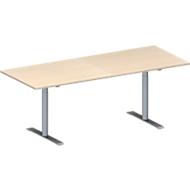 Vergadertafel MODENA FLEX, in hoogte verstelbaar, rechthoekige vorm, T-poot ronde buis, B 2000 x D 800 mm, esdoornpatroon