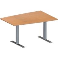 Vergadertafel MODENA FLEX, in hoogte verstelbaar, tonvormig, T-poot rechthoekige buis, B 1400 x D 1000 mm, beukenpatroon