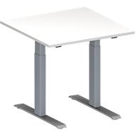 Vergadertafel MODENA FLEX, in hoogte verstelbaar, vierkante vorm, T-poot rechthoekige buis, B 800 x D 800 mm, wit