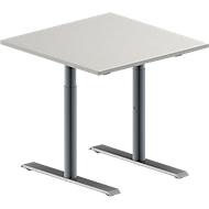 Vergadertafel MODENA FLEX, in hoogte verstelbaar, vierkante vorm, T-poot ronde buis, B 800 x D 800 mm, lichtgrijs