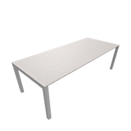 Vergadertafel SOLUS PLAY, 4-poot, in hoogte verstelbaar, B 2400 x D 1000 mm, ceramic grey