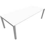 Vergadertafel SOLUS PLAY, 4-poot, in hoogte verstelbaar, B 2400 x D 1000 mm, wit