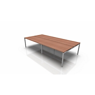 Vergadertafelsysteem IDEA, rechthoekig 12 plaatsen, B 3200 x D 1640 mm, Canaletto noot/aluminium