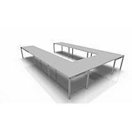 Vergadertafelsysteem IDEA, U-vorm 16 plaatsen, B 3200 x D 4800 mm, lichtgrijs/aluminium