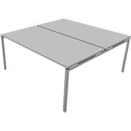 Vergadertafelsysteem IDEA, vierkant 8 plaatsen, B 1600 x D 1640 mm, lichtgrijs/aluminium