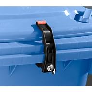 Vergrendeling voor afvalcontainers, cilinder met enkele sleutel