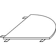 Verkettungsplatte LOGIN, gerundet, für 4-Fuß Schreibtisch LOGIN, B 800 x T 800 x H 740 mm, Ahorn