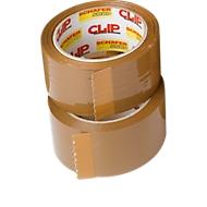 Verpakkingstape Clip, L 66 m x B 50 mm, 50 µ totale dikte, met afroller, PP-folie, bruin, 6 rollen