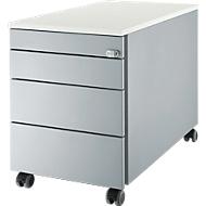 Verrijdbaar ladeblok 1233, 4 schuifladen, blank aluminium/blank aluminium/wit