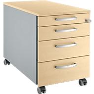 Verrijdbaar ladeblok 1233, 4 schuifladen, ronde handgrepen, blank aluminium/blank aluminium/esdoornpatroon