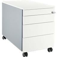 Verrijdbaar ladeblok 1233, met greepuitsparing B 435 x H 567 mm, blank aluminium/blank aluminium/wit