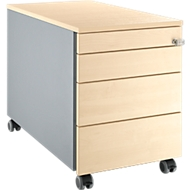 Verrijdbaar ladeblok 1233, met greepuitsparing B 435 x H 577 mm, blank aluminium/blank aluminium/esdoornpatroon