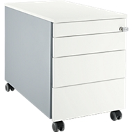 Verrijdbaar ladeblok 1233, met greepuitsparing B 435 x H 577 mm, blank aluminium/blank aluminium/wit