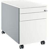 Verrijdbaar ladeblok 126, met greepuitsparing blank aluminium/blank aluminium/wit