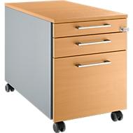 Verrijdbaar ladeblok 126, met hoekgreep B 435 x H 577 mm, blank aluminium/blank aluminium/beukenpatroon
