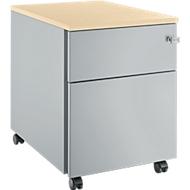 Verrijdbaar ladeblok 36, 1 schuiflade, blank aluminium/blank aluminium/esdoornpatroon