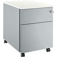 Verrijdbaar ladeblok 36, 1 schuiflade, blank aluminium/blank aluminium/wit