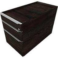 Verrijdbaar ladeblok QUANDOS BOX, 1 + 1 schuiflade, hangmappenlade, B 430 x D 800 x H 570 mm moeraseik