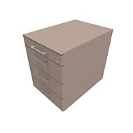 Verrijdbaar ladeblok SOLUS PLAY, 1 + 3 schuifladen, met handgreep, B 430 x D 600 x H 562 mm, Stone grey