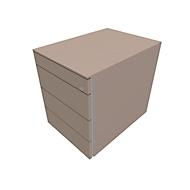 Verrijdbaar ladeblok SOLUS PLAY, 1 + 3 schuifladen, zonder handgreep, B 430 x D 600 x H 562 mm, Stone grey
