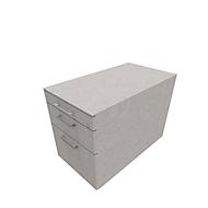 Verrijdbaar ladeblok SOLUS PLAY, 1 materiaallade, 1 schuiflade, 1 hangmappenlade, met handgreep, ceramic grey