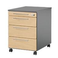 Verrijdbaar ladeblok Start UP 1233, 3 schuifladen + materiaallade, afsluitbaar, B 432 x D 580 x H 595 mm, grafiet/ahorn