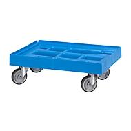 Verrijdbaar onderstel voor containers, 610 x 410 mm, blauw RAL 5012