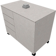 Verrijdbare aanzetkast SOLUS PLAY, 4 laden, 1 vleugeldeur, b 800 x d 500 x h 720-1080 mm, Ceramic grey