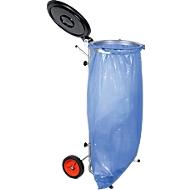 Verrijdbare afvalstandaard voor afvalzak van 70 tot 120 liter, met zwart deksel