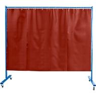 Verrijdbare beschermingswand met foliegordijn, 1-dlg., rood