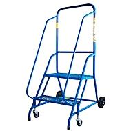 verrijdbare ladder, blauw, stalen frame, 2 zwenkwielen en 2 wieltjes, 2 treden van stalen rooster