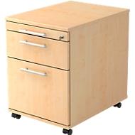 Verrijdbare ladeblok WEIMAR, 1 materiaallade, 1 lade, 1 hangmappenlade, b 428 x d 553 x h 590 mm, ahorndecor